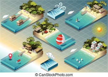Isometric Tiles of Carribean Holidays - Detailed...