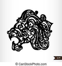 Zodiac signs black and white - Leo
