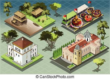 Isometric Tiles of South American Buildings - Detailed...