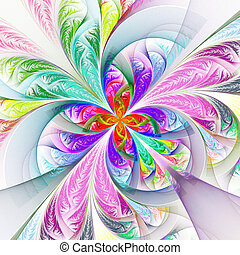 Diagonal symmetric multicolored fractal tracery. Collection...