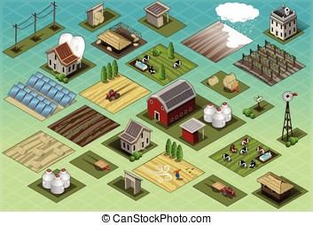 Isometric Farm Set Tiles - Detailed illustration of a...