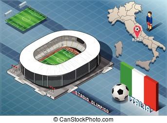 Isometric Stadium, Olimpico, Rome, Italy - Detailed...