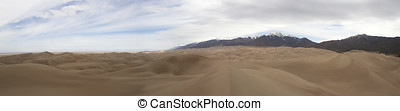 Panoramic vista of Great Sand Dunes and Preserve with Sangre...