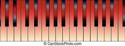 Red Piano Keys - Black and white piano keys with a tint of...