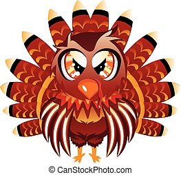 Cute Turkey Bird - Cute cartoon Thanksgiving turkey bird on...