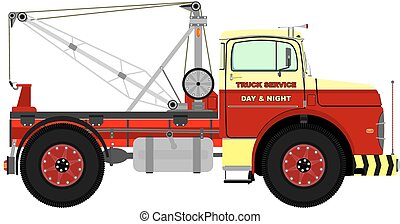 Retro tow truck - Cartoon retro tow truck. Vector without...