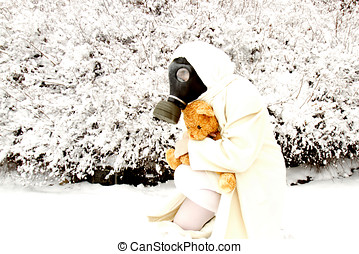 Woman dressed in white wearing a gas mask and hugging a...