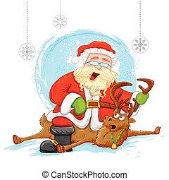 Santa on reindeer in Christmas background