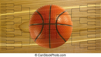 Tournament of 64 bracket with basketball on wooden...