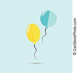 Yellow and blue ballons on the blue background. Vector