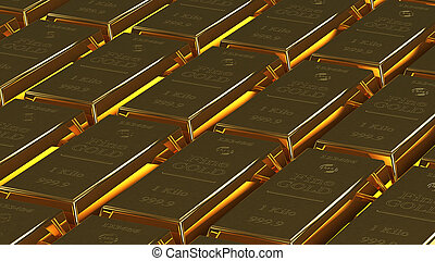 gold bullion - lot of gold bullion 3d rendering