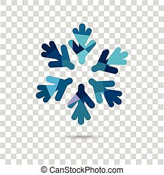 Snowflake on the checkered background. Vector shape