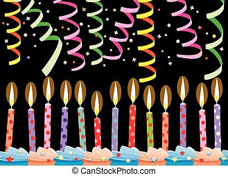 vector row of birthday candles on cake and streamers