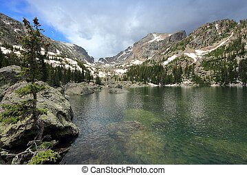 Rocky Mountain National Park in Colorado, USA Lake Haiyaha...