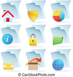 web icon set business images on documents isolated on white...