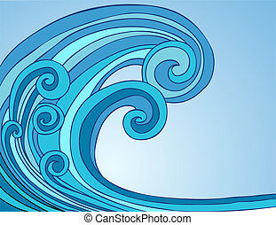 Blue Tsunami Wave Two - Blue Tsunami Wave cartoon drawing...
