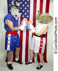 Republican and Democrat boxers squaring off in front of an...