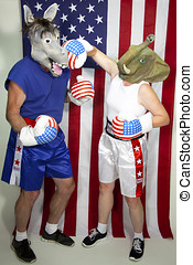 Republican Elephant landing a punch on a Democrat Donkey standing in front of an American flag