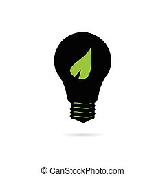 bulb with green leaf vector