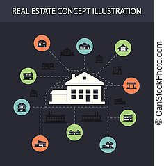 Illustration of buildings flat design composition with icons...