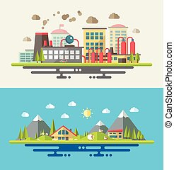 Modern flat design conceptual ecological illustration -...
