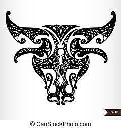 Zodiac signs black and white - Taurus