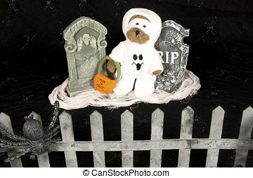 Ghost in Graveyard - Teddy bear dressed in a ghost...