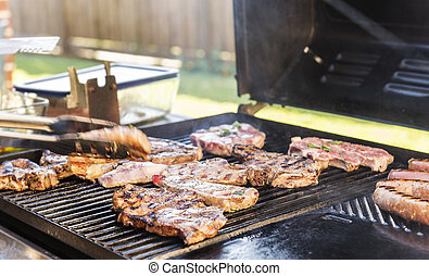 BBQ Lamb - Lamb being grilled on the BBQ at an Australian...