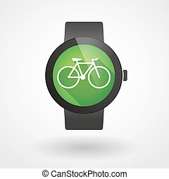 Smart watch icon with a bicycle - Illustration of an...