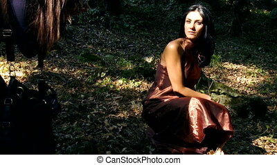 Fashion photo shoot in forest - Beautiful female model...