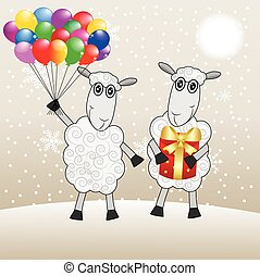 two merry sheep