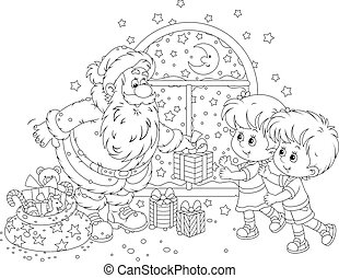 Santa and kids - Santa Claus giving Christmas gifts to a...