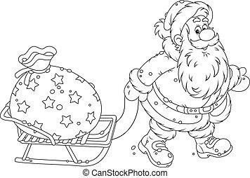 Santa with a gift bag - Santa Claus carrying a big bag of...