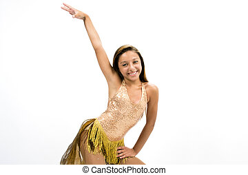 Teenger smiling in golden dress posing for dancing
