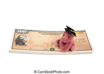 Pink pig with college mortar board atop stack of US Savings...