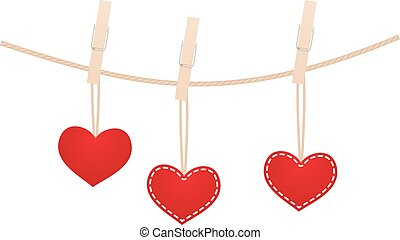 Hearts on clothesline - Red hearts with clothespin hanging...
