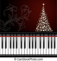 Christmas card with decorations and piano keyboard. Vector...