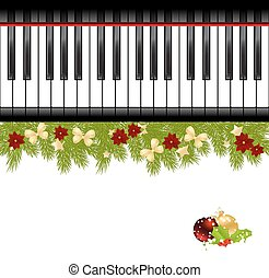 Christmas template with decorations, fir and piano keyboard...