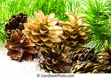 Pine cones and pine branches. Christmas and new year...