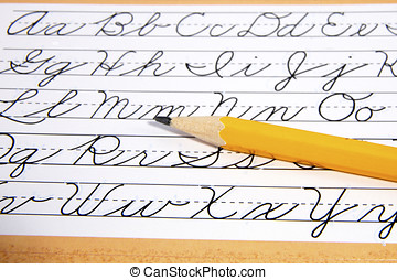 Style guide for learning to write cursive english letters...