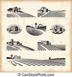 Retro landscapes - A set of retro landscapes in woodcut...