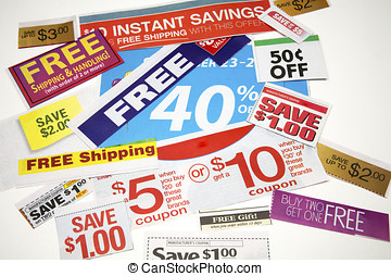 Collage of coupon offers clipped from advertisements