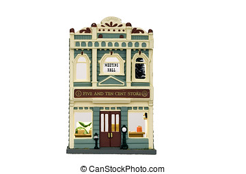 Doll house ornament representing a Dime Store on a white...