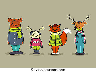 Cute animals in clothes