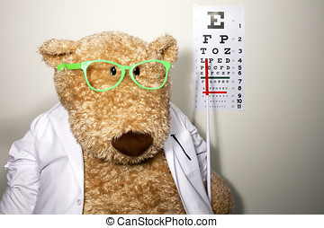 Oversized teddy bear dressed as an optometrist wearing a...