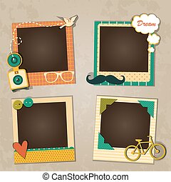 Decorative template frame design for baby photo and...