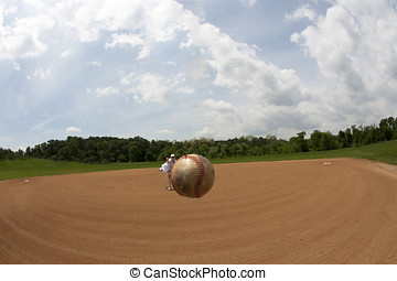 Fisheye view of a baseball apparently hovering in mid air...