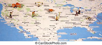 地圖, 團結, 工人, 小雕像, 國家, 建設