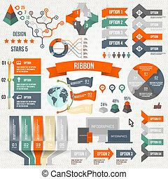 Infographics set with options Infographic, Ribbon, Logo,...