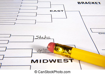 Tournament playoff bracket with one line filled in and one...